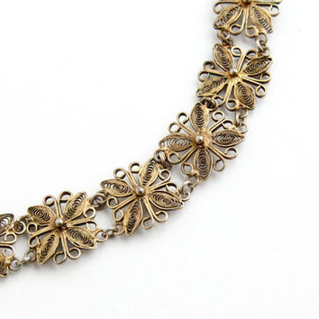 Vintage Floral Filigree Bracelet - Mid Century Italian Gold Plated Linked Metal Work Jewelry / Intricate Italy