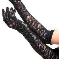 Black Full Length Lace Gloves - Unique Vintage - Prom dresses, retro dresses, retro swimsuits.