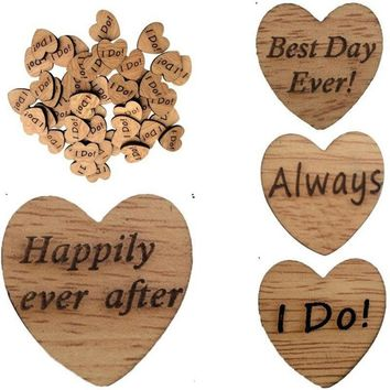 Hot Selling 50Pcs Wooden Love Heart Letter Slices DIY Craft Wedding Table Scatter Decoration
