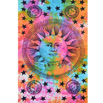 Multicolor Psychedelic Tie Dye Celestial Sun and Moon Wall Tapestry Bedspread on RoyalFurnish.com