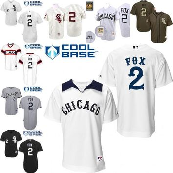 White Throwback Nellie Fox Authentic Jersey , Men's #2 Mitchell And Ness Chicago White Sox 1976 Turn Back The Clock