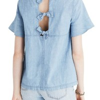 Madewell Chambray Tie Back Top   Nordstrom