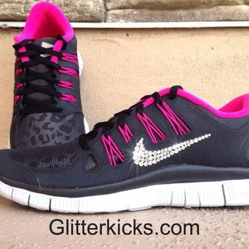 Women's Nike Free Run 5.0+ Leopard Shield Running Jogging Training Shoes Customized Wi