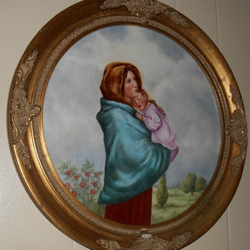 "Porcelain Portrait Handpainted in Round Gold GESSO HUGE Antique Frame 17"" Mother Mary ~ Virgin Mary ~ Our Lady"