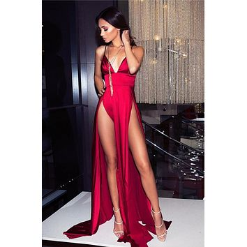 Sexy V Neck Red Party Dress with Slit Prom dresses Satin Evening dress Formal Gowns G3247