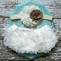Ready to Ship AU NATUREL Baby Girl Bloomers Set Chiffon Ruffle Ivory Headband 0 3 6 9 12 18 months Photography Prop Newborn Take home outfit