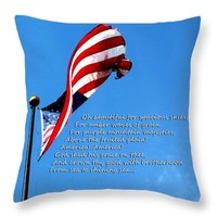 "America The Beautiful - US Flag By Sharon Cummings Song Lyrics Throw Pillow 14"" x 14"""