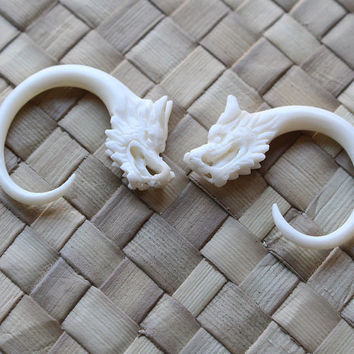 6g 4mm Small Dragon Gauges, Real Bone Gauge Earrings, Organic Hand Carved Body Art Jewelry