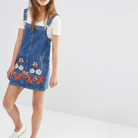 Glamorous Petite Denim Pinafore Dress With Floral Embroidery