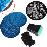 10Pcs Nail Plates +1 Stamper + 1 Scraper 304 Stainless Steel Nail Stamp Plates Set Nail Art Stamp Template Image Nail Art Tools