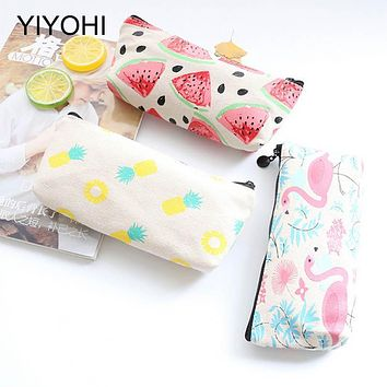 YIYOHI Portable Canvas Flamingo Floral Cosmetic Bag Travel Toiletry Wash Makeup Storage Bags Organizer Make Up Case For Women