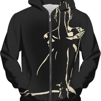 Adult erotic hoodies series - In the Night she hides, sexy black and white stencil