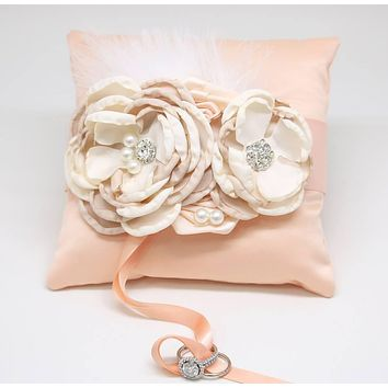 Peach Ring Pillow Ivory Champagne Dog Ring Bearer, Summer wedding
