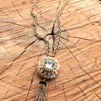 CRYSTAL CLEAR TASSEL NECKLACE