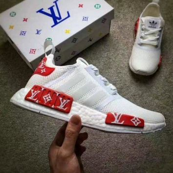 DCCKIJG Best Online LV x Adidas NMD R1 White / Red BV1608 Sport Running Shoes Classic Casual S