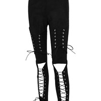Black Faux Suede Lace Up Skinny Pants