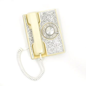 Vintage Rotary Phone •  1970s MOD White Phone • Vintage Exeter Wall or Table Telephone • White Rotary Phone • 1970s Etched Metal Telephone