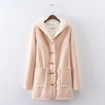 Camel Horn Button Front Hooded Suede Coat