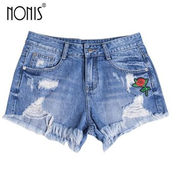 Nonis Denim Shorts Embroidery Curling Short Jeans Summer Ripped Womens Cotton Straight Shorts Flower Pantalones Cortos Mujer