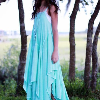 Girls turquoise sundress, Tween festival looks, woodland fae dress, True rebel clothing