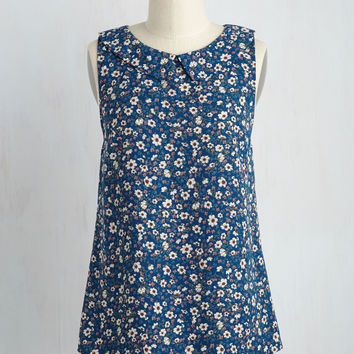 To the Nines Sleeveless Top in Blue Blooms | Mod Retro Vintage Short Sleeve Shirts | ModCloth.com