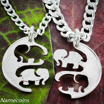 Elephant Necklaces, Interlocking hand cut quarter by NameCoins