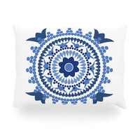 "Carolyn Greifeld ""Bohemian Blues"" Blue White Oblong Pillow"
