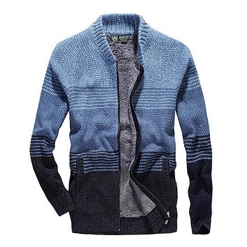2019 Autumn Winter Casual Striped Men Fleece Warm Thick Sweaters Cotton Men Cardigan
