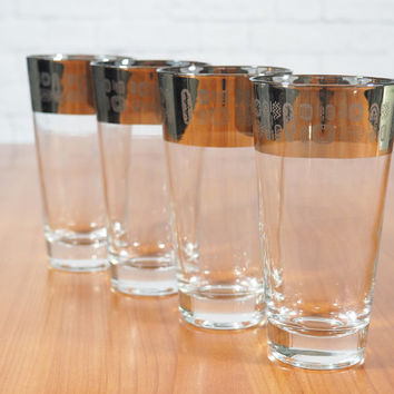 Atomic Cocktail Glasses / Set of Four Silver Rimmed Highball Glasses with Retro Atomic Design / Midcentury Modern Barware
