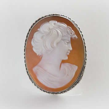 Fine Sardonyx Shell Cameo - Youthful Male Adonis Silhouette - Convertible Pendant Brooch - Antique Coin Silver