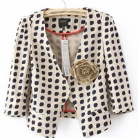 Cotton Long Sleeve V-Neck Dot Embellishment Flower Decoration Blazer  style 819zz012