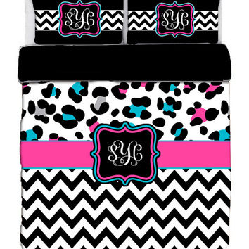 Custom Personalized Cheetah and Chevron Bedding Set -Available Tw-FQu-King Sizes - Color Black with Turq-Hot Pk or Turq-Red Accent