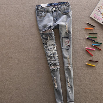 2016 New Fashion Spring Style jeans woman Casual skull denim Pants Ripped Hole Patchwork Elastic ladies skinny Pencil Pants 8257