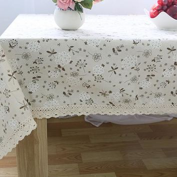Linen Cotton Tablecloths For Rectangular Tables White Lace Floral Printed Table Cover Linen Table Cloth Toalha De Mesa