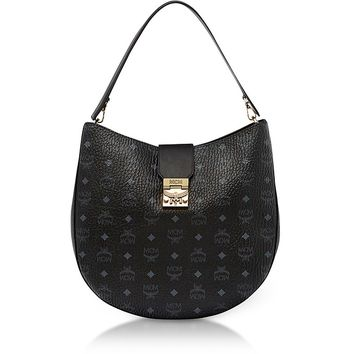 MCM Patricia Visetos Black Large Hobo Bag