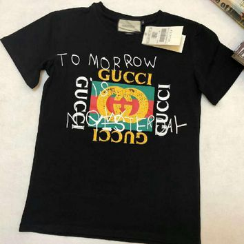 Gucci Fashion Casual Print Round Neck Short Sleeve Pullover T-shirt Top-1