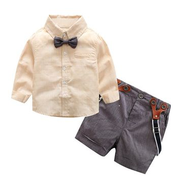 Baby Boy Clothes 2017 Spring New Gentleman Solid Boys Clothing Suit For Newborn Baby Bow Tie Shirt + Suspender Trousers Pants