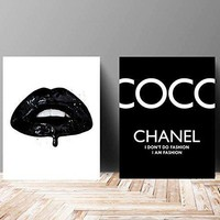 Wall Art Poster Print - Vinyl Kiss Lips COCO CHANEL, Shoes, Book, Handbag Vogue - Famous Fashion Quote - Black Color- 679 610
