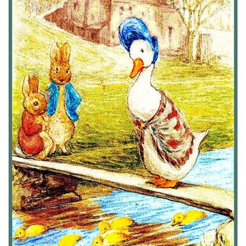 Peter Rabbit and Jemima Puddle Duck Chat inspired by Beatrix Potter Counted Cross Stitch Pattern