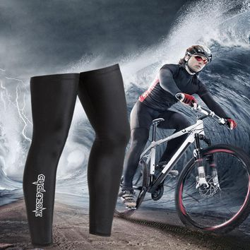 Bike Cycling UV Sun Protection Cycling Arm Cuff Leg Sleeves Covers Gears Bicycle Accessories Black Polyester #3S26