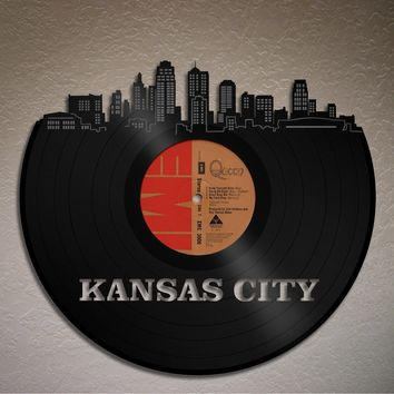 Kansas City Skyline, Kansas Cityscape, Wall Decor Decal, Bedroom Wall Decor, Living Room Wall Art, Personalized VInyl Record Art, Music Art