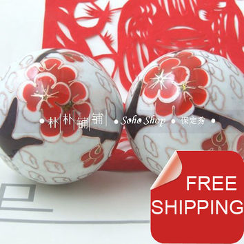 Cloisonne iron balls,gorgeous red plum blossom,an unforgettable noble gift. 50mm chime health balls.Red paper box. .