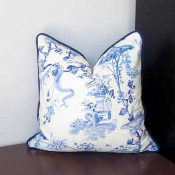 Blue and White Chinoiserie Toile Decorative Pillow Yosca Blue  Indigo Blue