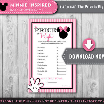 Minnie Mouse Girl Baby Shower Game, PRICE is RIGHT, Printable, Instant Download, Invitation and Party Printables available