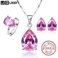 JQUEEN 925 Sterling Silver Jewelry set Mystic Topaz set Pink Water Drop Desgin Necklace Earring Ring sets Women Jewelry set