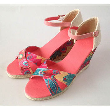 Wedge Sandals with Caribbean floral colors