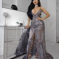 Fransuaza Grey sequined Maxi dress