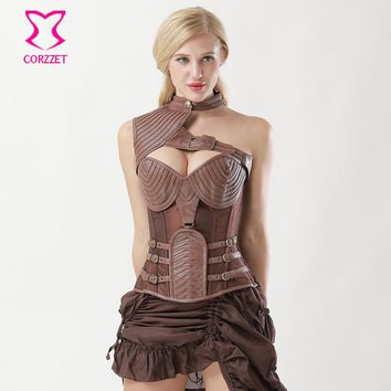 Brown Leather Corsets And Bustiers Vintage Armor Corset Steampunk Gothic Clothing Burlesque Corpetes E Espartilhos Plus Size 6XL