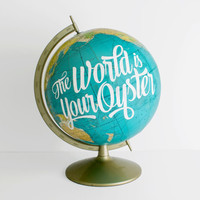 World Globe 12 inch Teal painted The World is your Oyster Vintage Decor Travel Inspirational WildandFreeDesigns Graduation New Job Office