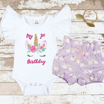 Unicorn Purple Rainbow Bloomer Outfit